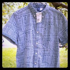 Men's Graphic Button Down Short Sleeve Shirt